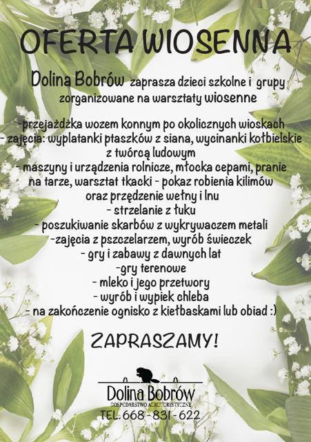 Zajęcia Wiosenne dla dzieci Dolina Bobrów